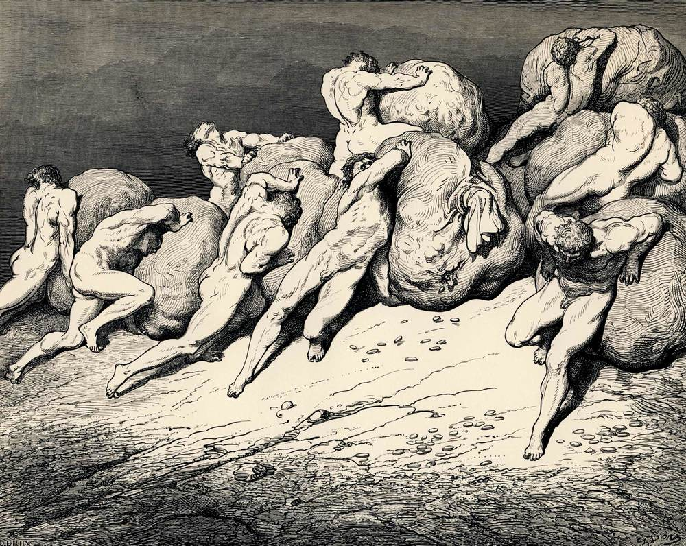 Nude men pushing boulders up a hill in hell.  From an illustrated edition of  Dante's Inferno .    The hoarders and wasters , 1857 byGustave Doré.  Courtesy of Wikimedia Commons.