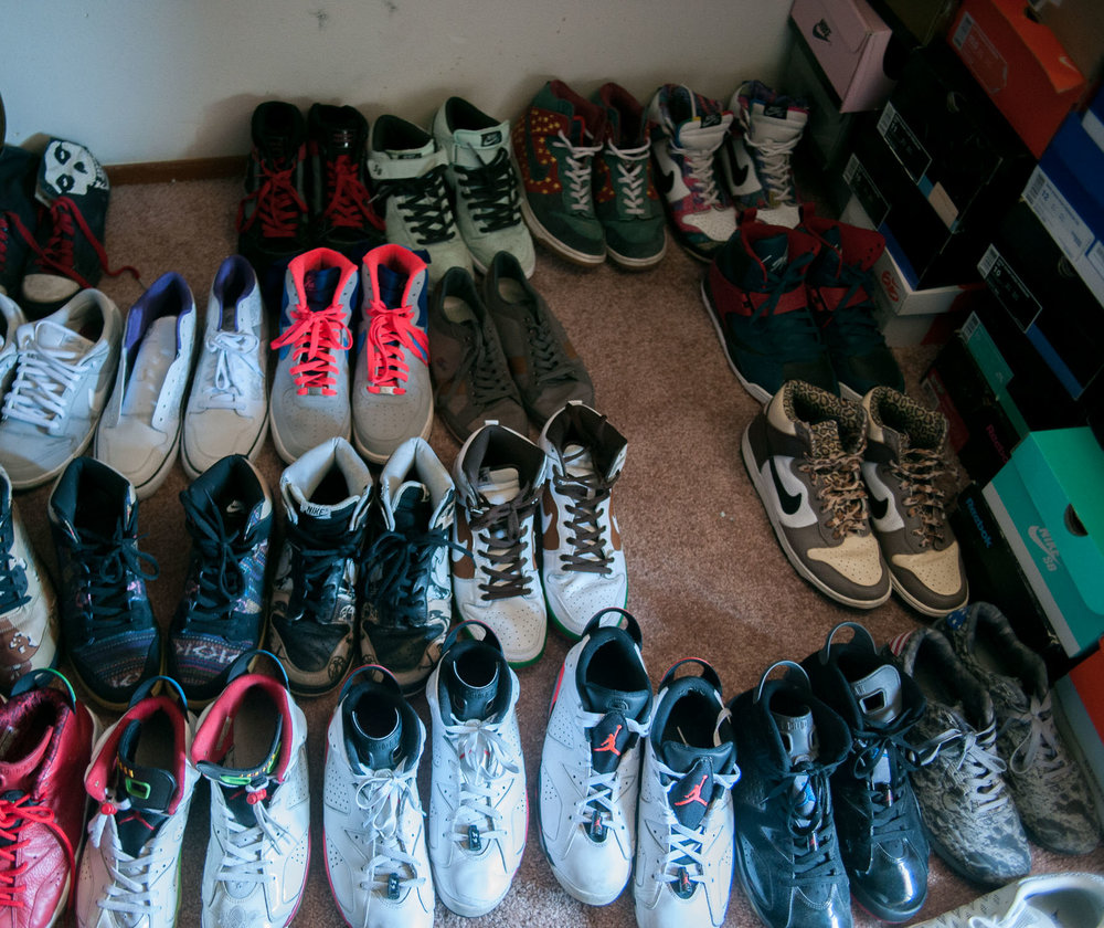 Part of Malibu Ron's shoe collection.