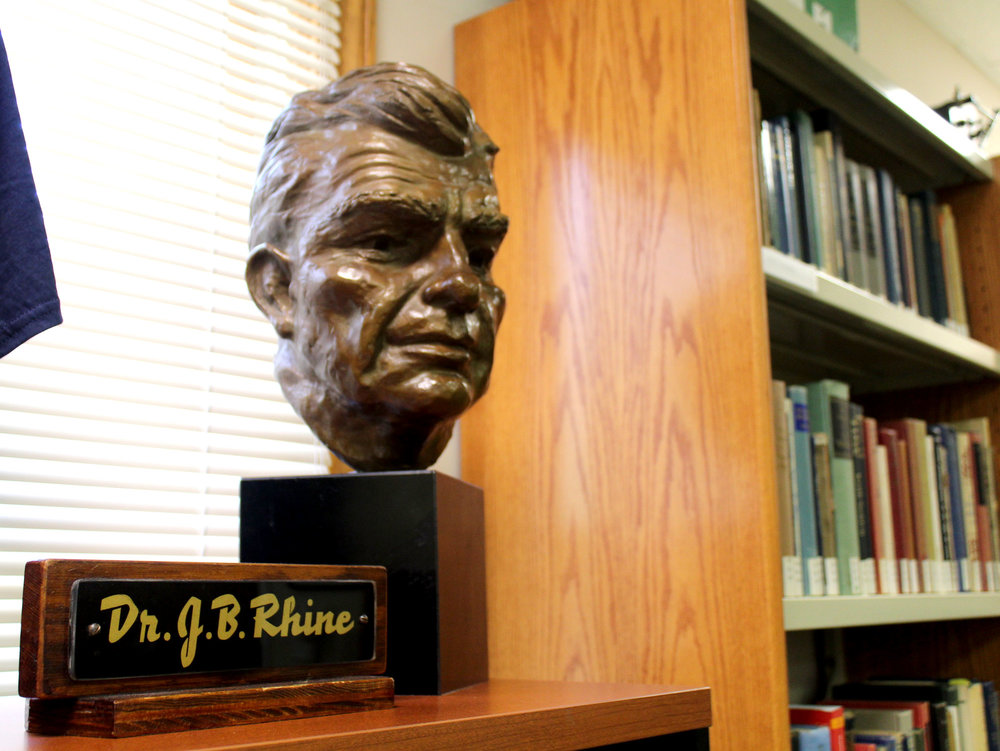 A bust of Joseph Banks Rhine at the Rhine Research Center in Durham, North Carolina