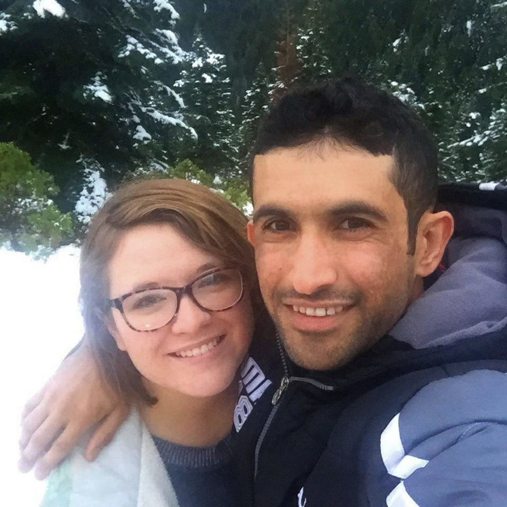 Muhammad Tariq and fiancé Catherine Adams in the snow