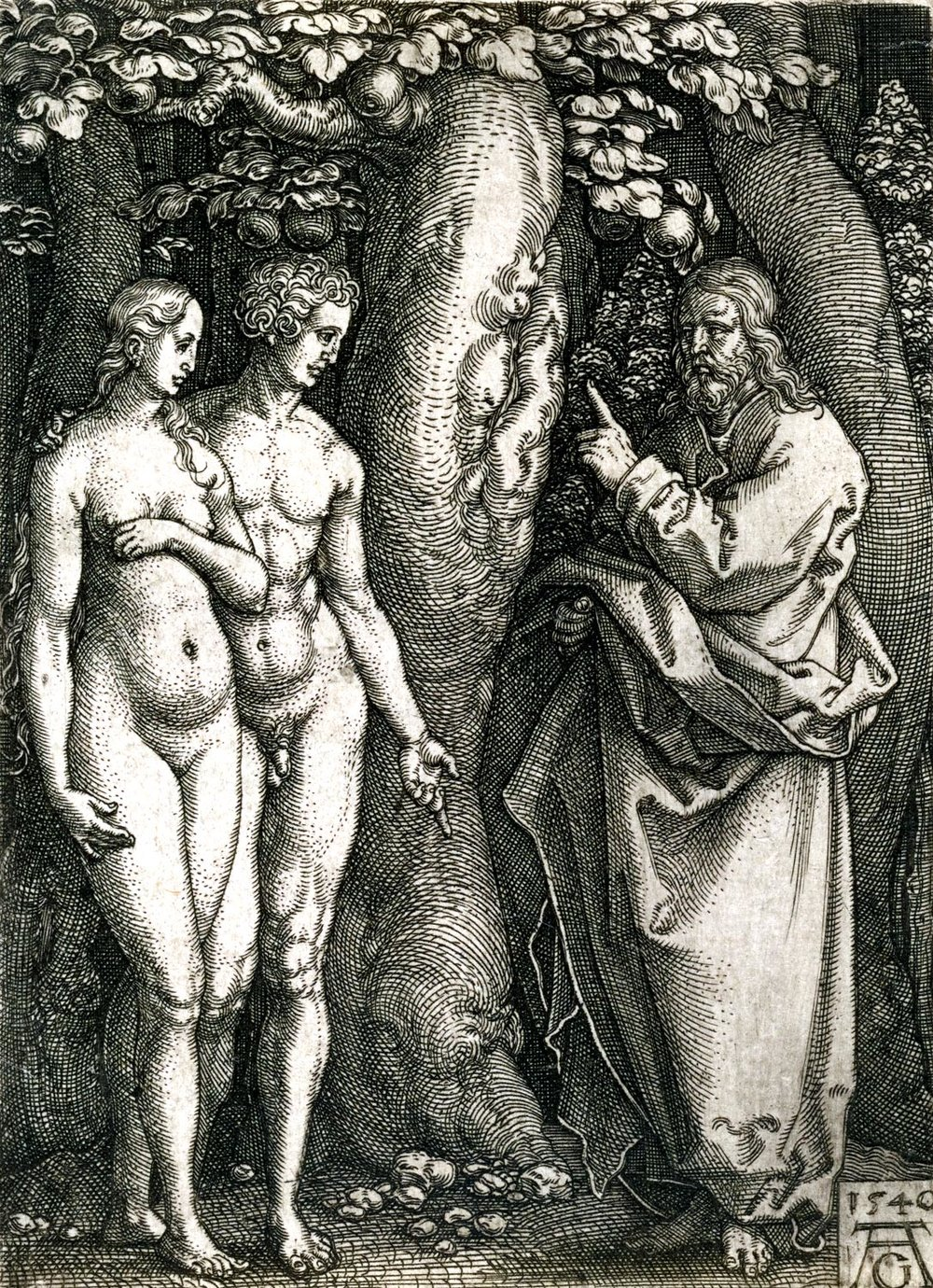 God Forbidding Adam and Eve to Eat from the Tree of Knowledge, Heinrich Aldergrever, 1540