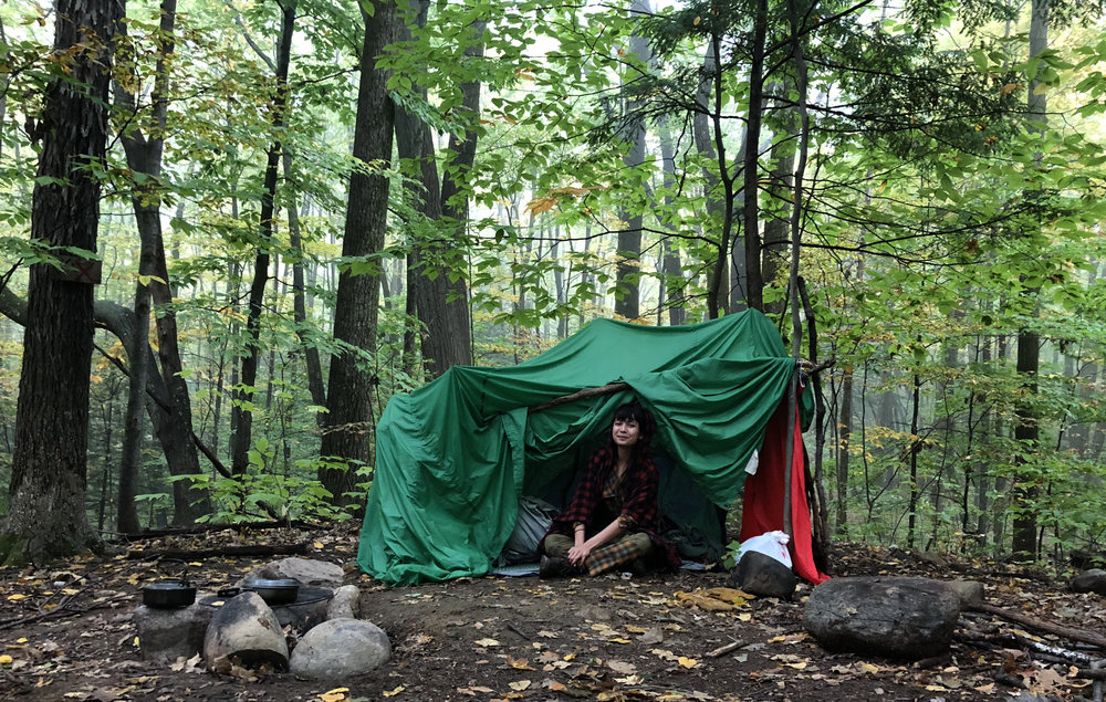 Alessandra Canario camps in a homemade shelter in the woods near Saratoga Springs, New York. Photo by Alessandra Canario.