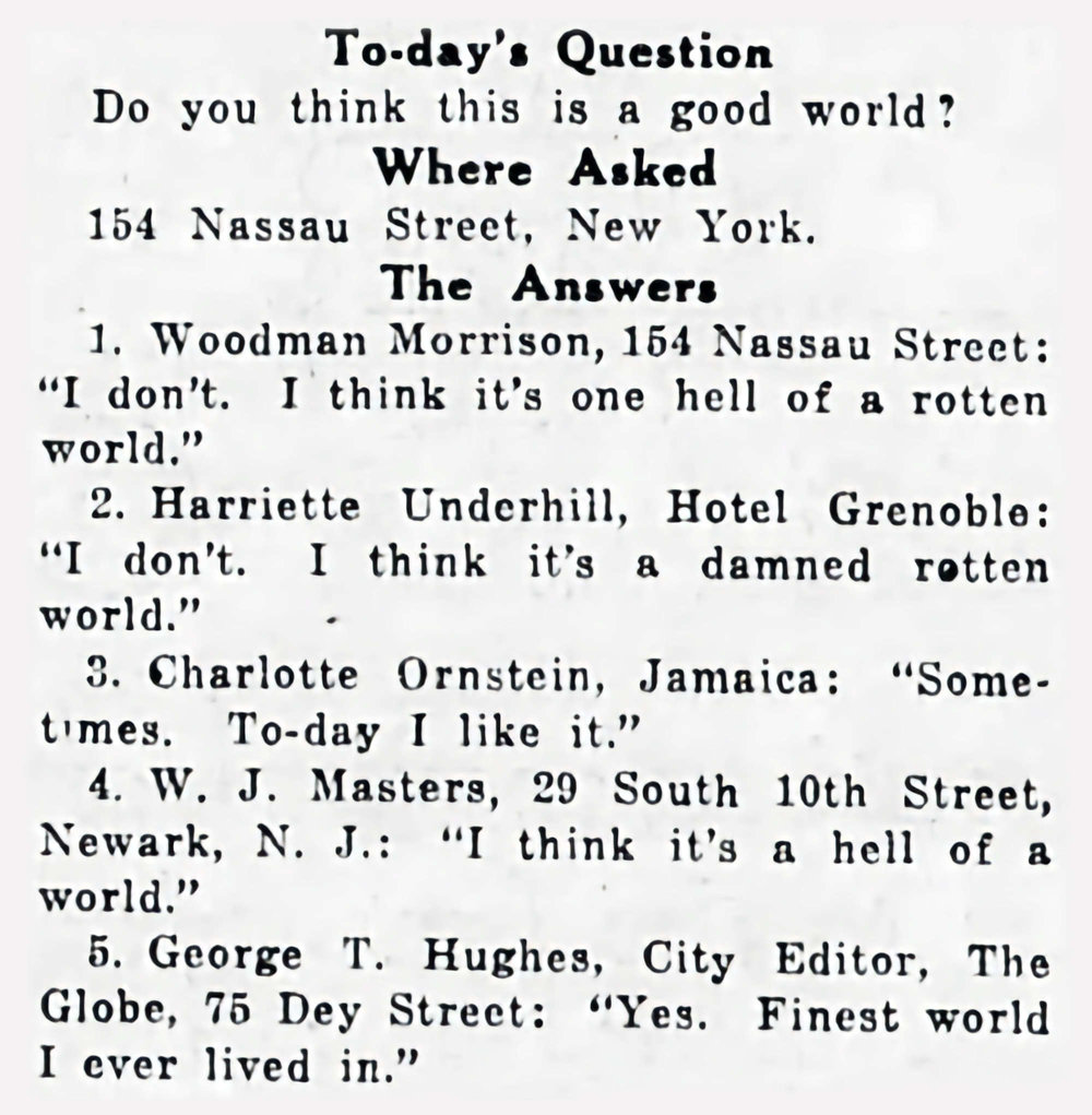 "The original column from 1919 in which ""The Inquiring Colyumist"" asks their question for a piece in the New York Tribune."