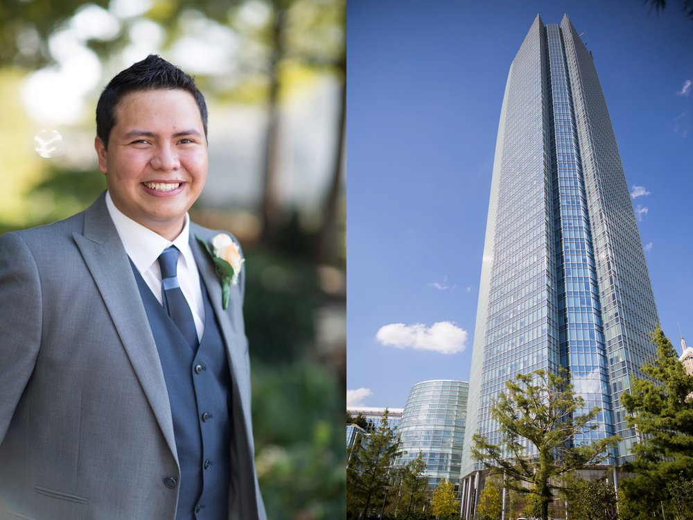 Groom downtown Oklahoma City; Devon tower