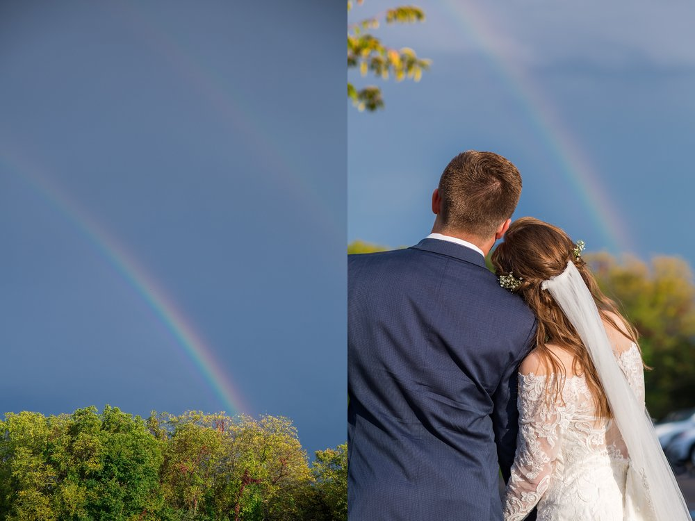 Rainbow, Komorebi Weddings, Missouri Fall Rainy Day Wedding
