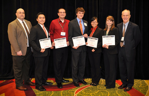 From left to right: Eastman (award sponsor): Brian King 2013 Student Poster Winners: Jack Ly, Christopher Childers, Michael Sims, Li Xiong, Emily Hoff Waterborne Chairman: Robson Storey
