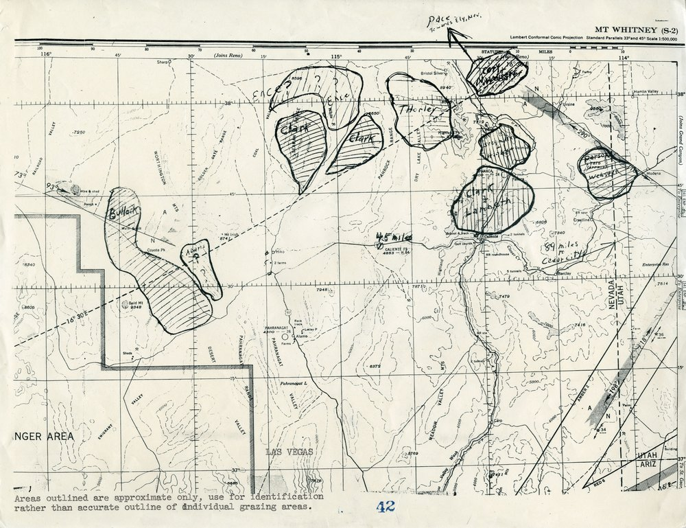 MAP OF THE AREA EFFECTED BY TESTS AT THE NTS IN 1952 AND 1953 - SERIES 11571 - PERMISSION OF THE UTAH STATE ARCHIVES AND RECORDS SERVICE.