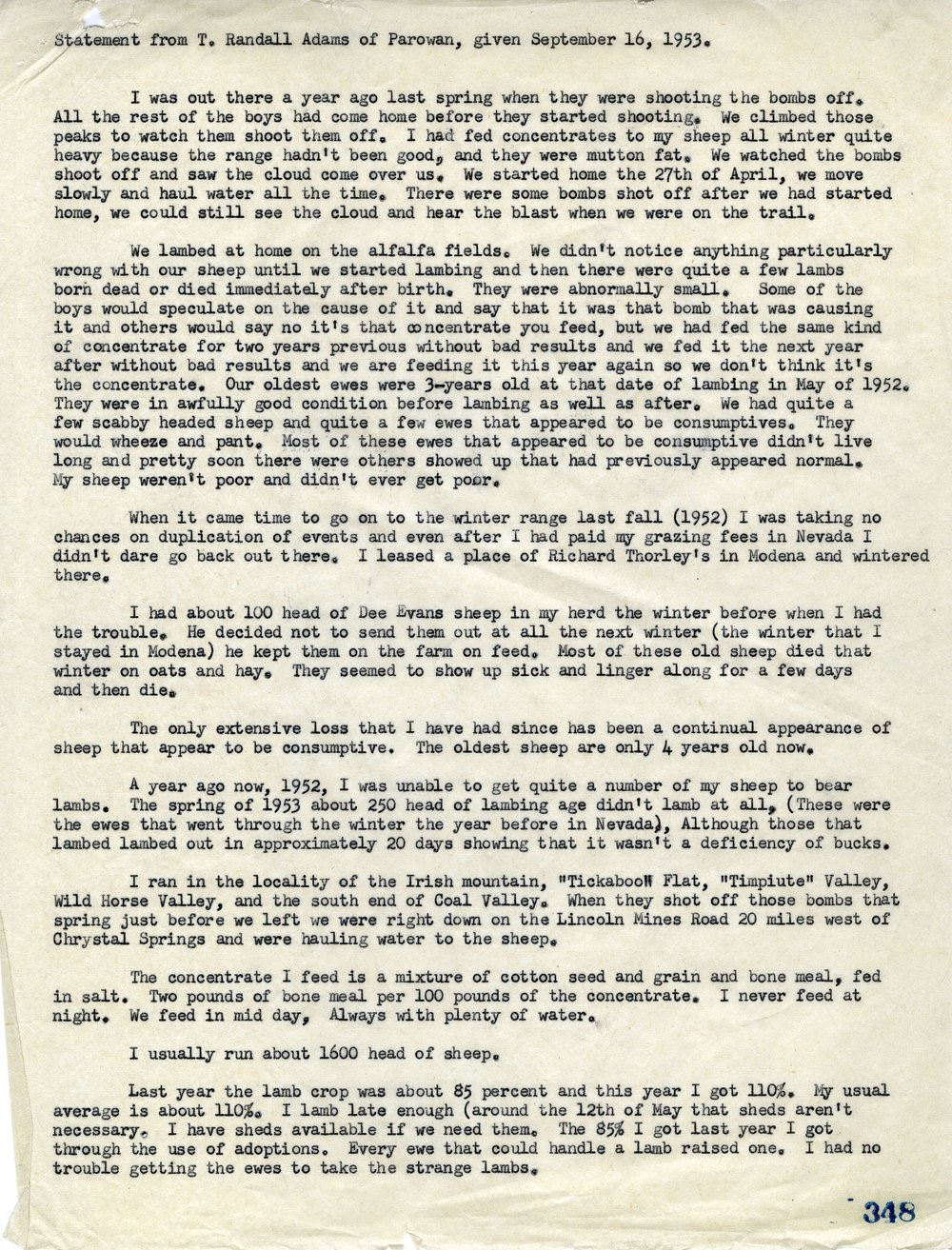 STATEMENT FROM PAROWAN SHEEP OWNER T. RANDALL ADAMS ON SHEEP LOSS- SERIES 11571 - PERMISSION OF THE UTAH STATE ARCHIVES AND RECORDS SERVICE.
