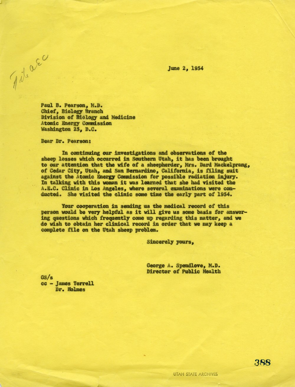 CORRESPONDENCE ON PENDING MACKELPRANG LAWSUIT FOR INJURIES SUFFERED FROM ABOVE-GROUND NUCLEAR TESTING - SERIES 11571 - SERIES 11571 - PERMISSION OF THE UTAH STATE ARCHIVES AND RECORDS SERVICE.