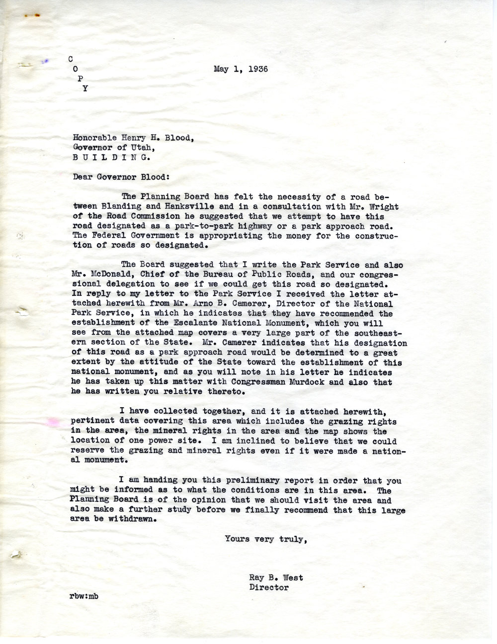 1936 LETTER FROM RAY B. WEST TO GOVERNOR HENRY BLOOD (SERIES 22028).