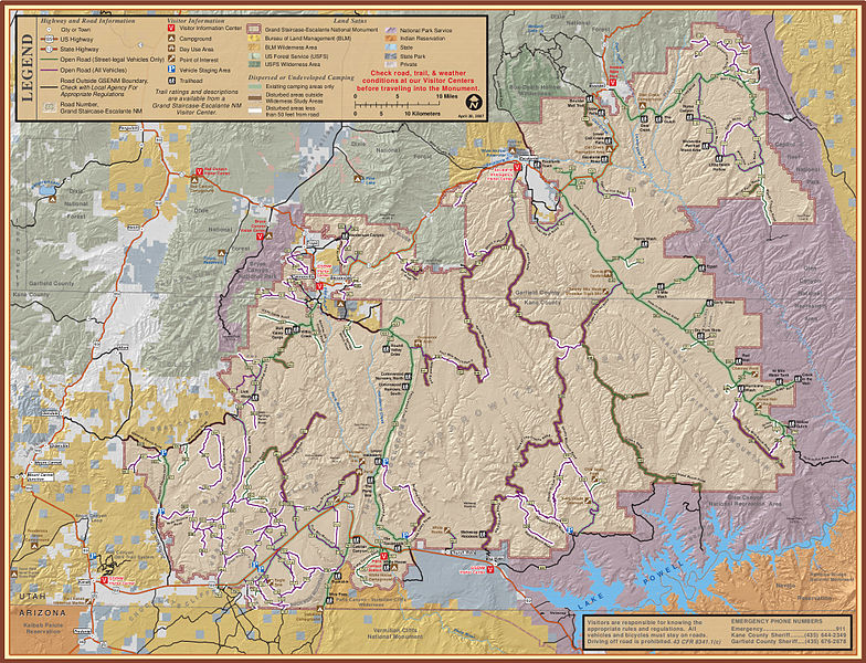 MAP OF THE MODERN DAY GRAND STAIRCASE-ESCALANTE NATIONAL MONUMENT.