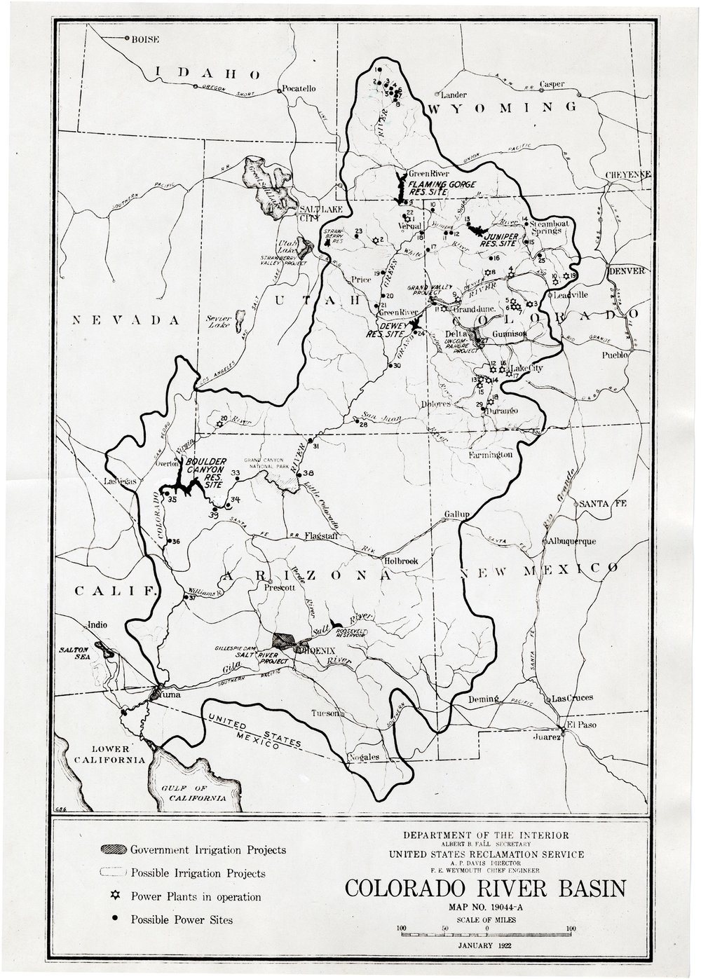 MAP OF THE COLORADO RIVER BASIN MADE BY THE BUREAU OF RECLAMATION IN 1922 (SERIES 13912). PHOTO COURTESY OF THE UTAH STATE ARCHIVES AND RECORDS SERVICE.
