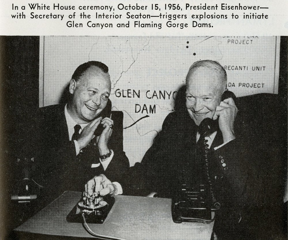PRESIDENT EISENHOWER TRIGGERING CONSTRUCTION OF DAMS AT FLAMING GORGE AND GLEN CANYON (SERIES 200). PHOTO COURTESY OF THE UTAH STATE ARCHIVES AND RECORDS SERVICE.