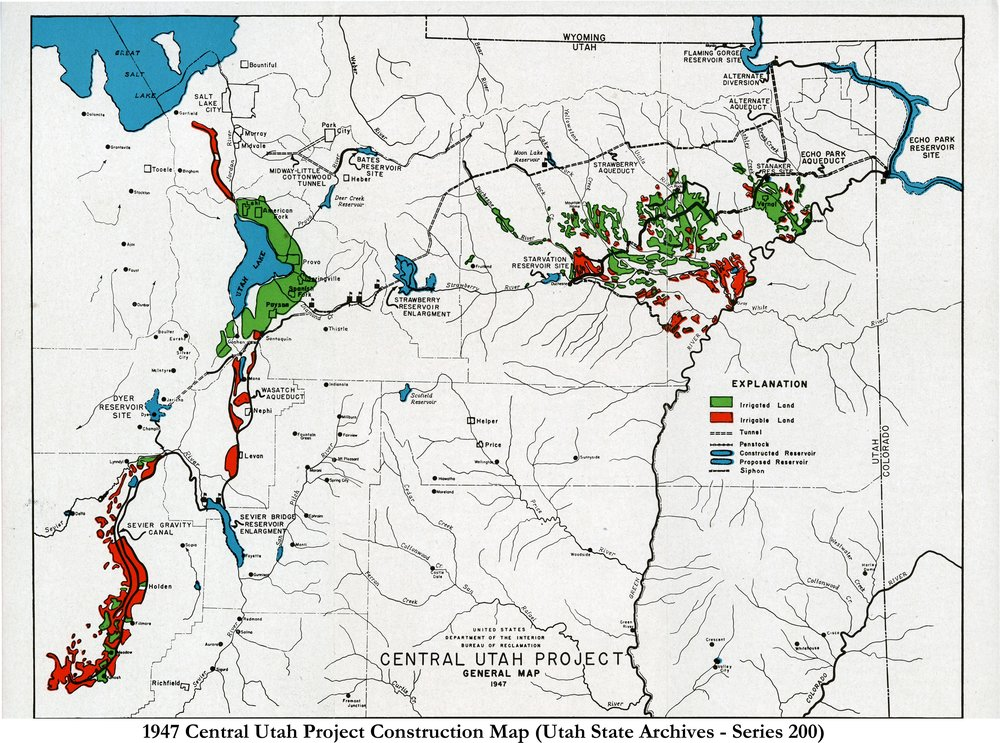 1947 CONCEPTION OF THE CENTRAL UTAH PROJECT (SERIES 200).  PHOTO COURTESY OF THE UTAH STATE ARCHIVES AND RECORDS SERVICE.