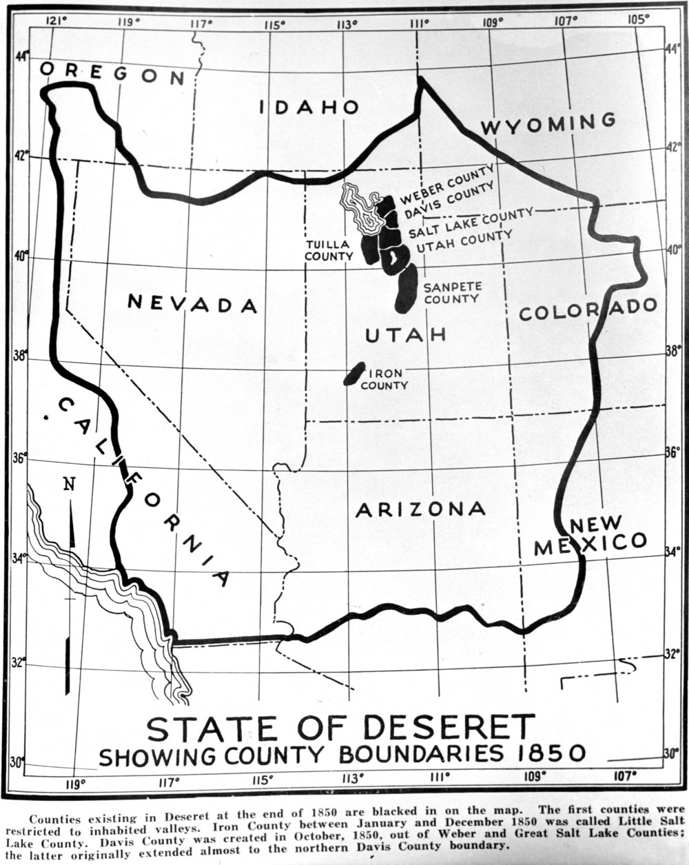 Utah's hilarious 1849 attempt to incorporate most of the interior west within the boundaries of the State of Deseret. Image courtesy of the Utah State Historical Society.