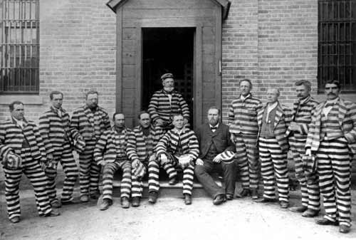 Men imprisoned for polygamy at the Utah Territorial Prison in 1888. Image courtesy of the Utah State Historical Society.