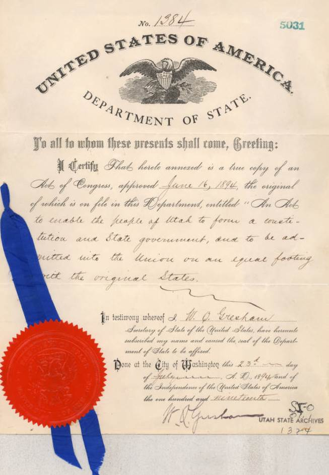 Utah's 1894 Enabling Act. Image courtesy of the Utah State Archives and Records Service.