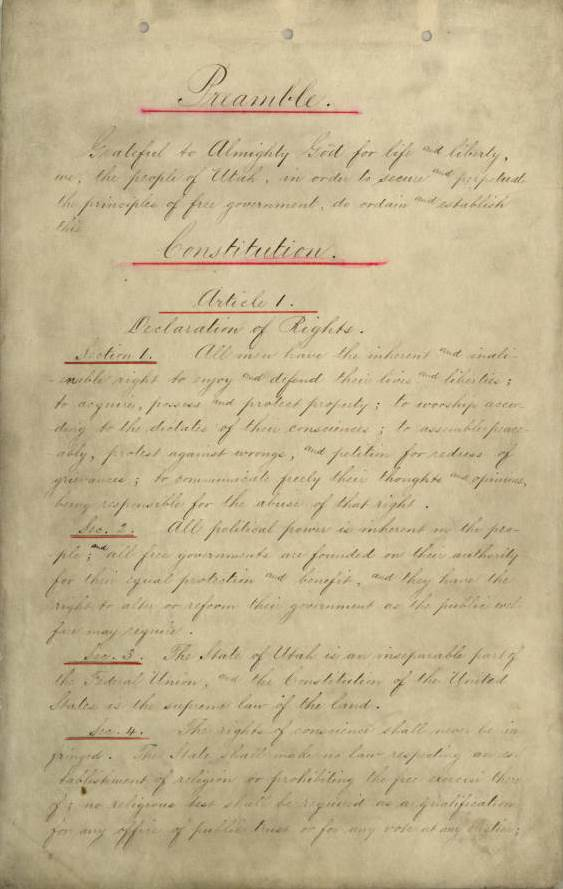 Preamble to Utah's 1896 State Constitution. Image courtesy of the Utah State Archives and Records Service.