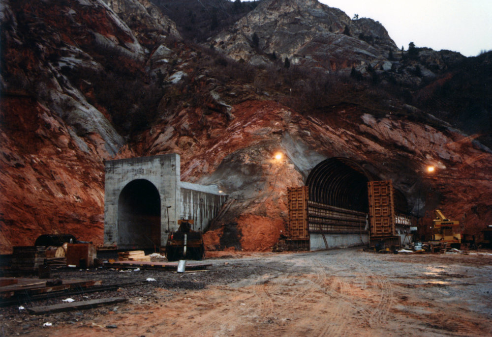 Outside the new railroad tunnels near Thistle in November 1983. Photo courtesy of the Utah State Archives and Records Service.