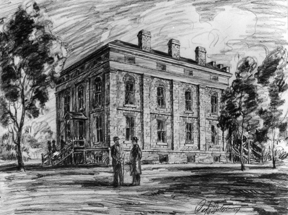 ILLUSTRATION OF UTAH'S FIRST TERRITORIAL STATEHOUSE IN FILLMORE.  IMAGE  COURTESY OF THE UTAH DIVISION OF STATE HISTORY.