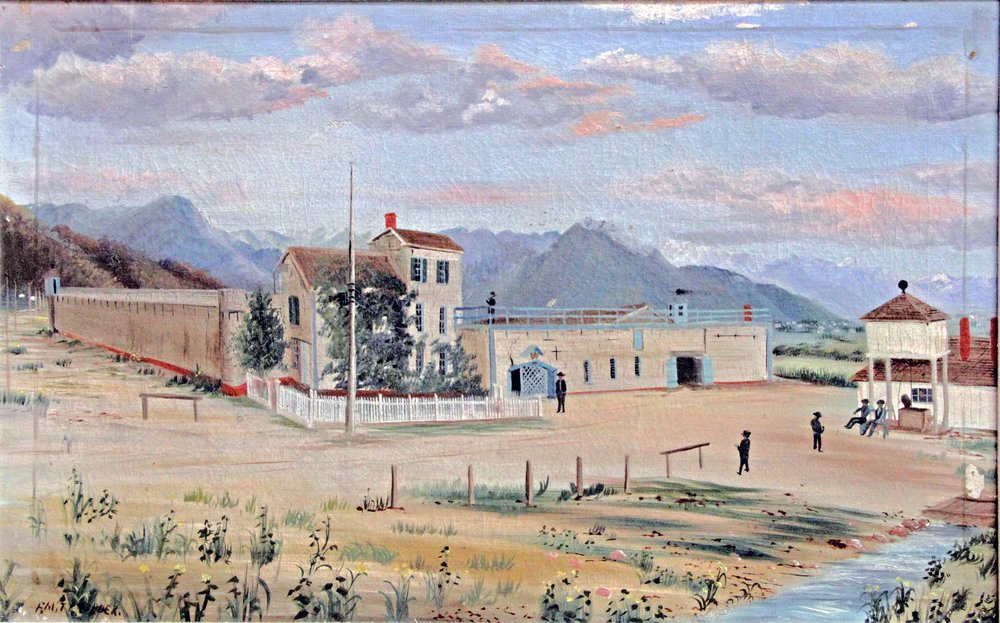 1887 PAINTING BY FRANK TRESEDER OF THE UTAH TERRITORIAL PRISON IN SUGAR HOUSE (SERIES 27827). IMAGE COURTESY OF THE UTAH STATE ARCHIVES AND RECORDS SERVICE.