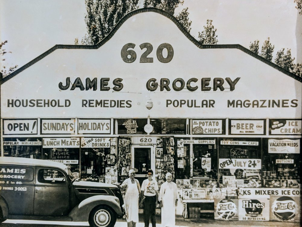 Family photo of James Grocery with (from left to right) my grandfather, father, and the stores namesake, Uncle James.