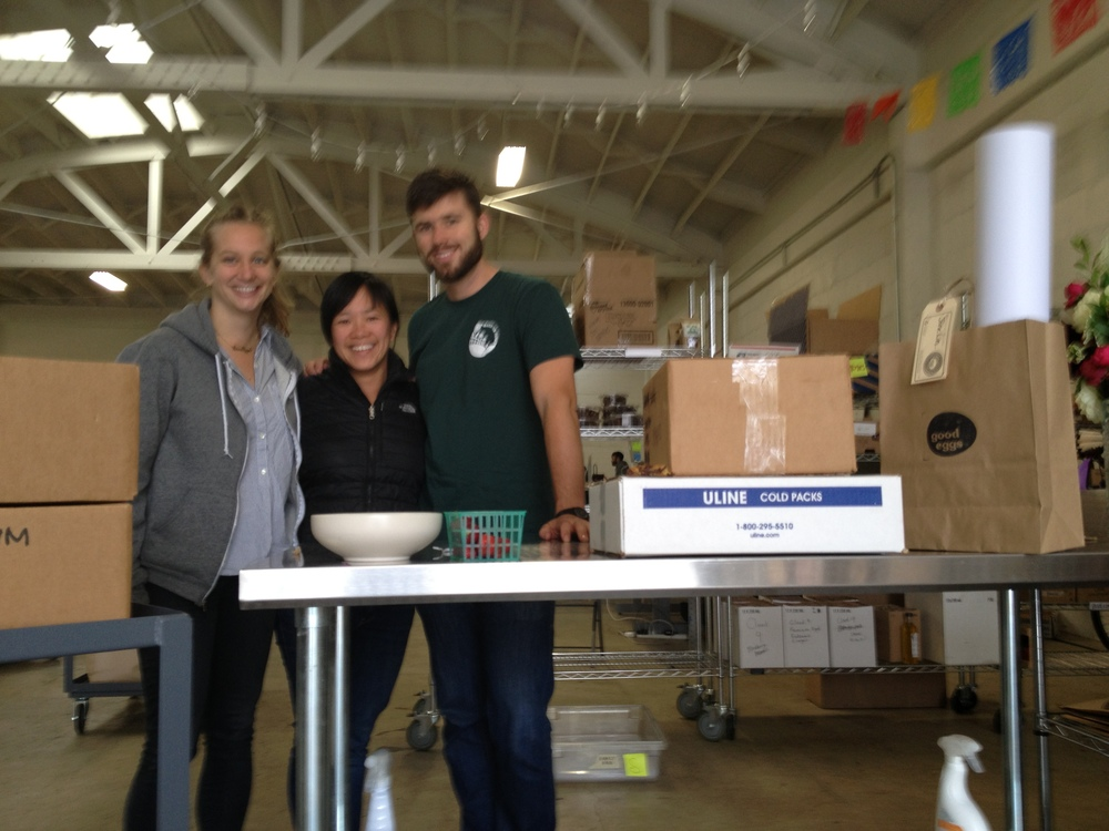 My son took this picture of me with Angelica and Darren at the Good Eggs warehouse on my last day of delivery there.
