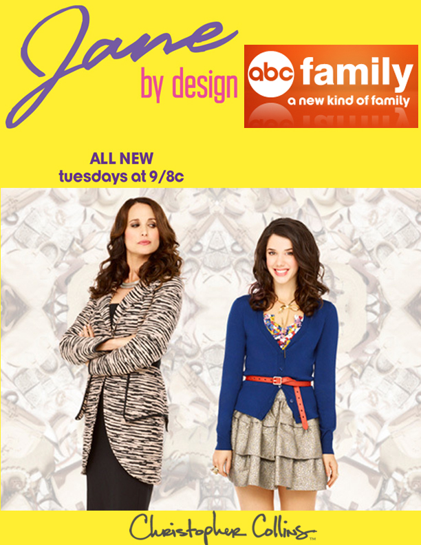 "Andy MacDowell wears Christopher Collins™ Fall 2012 jacket for ABC Family's show ""Jane by Design"". Multiple clothes from the CC collection were showcased throughout season one."