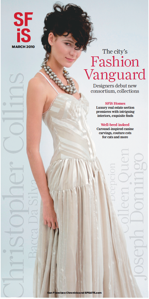 Cover Shot: Model wears Christopher Collins™ Fall 2008 gown for SF Snow Fashion show.