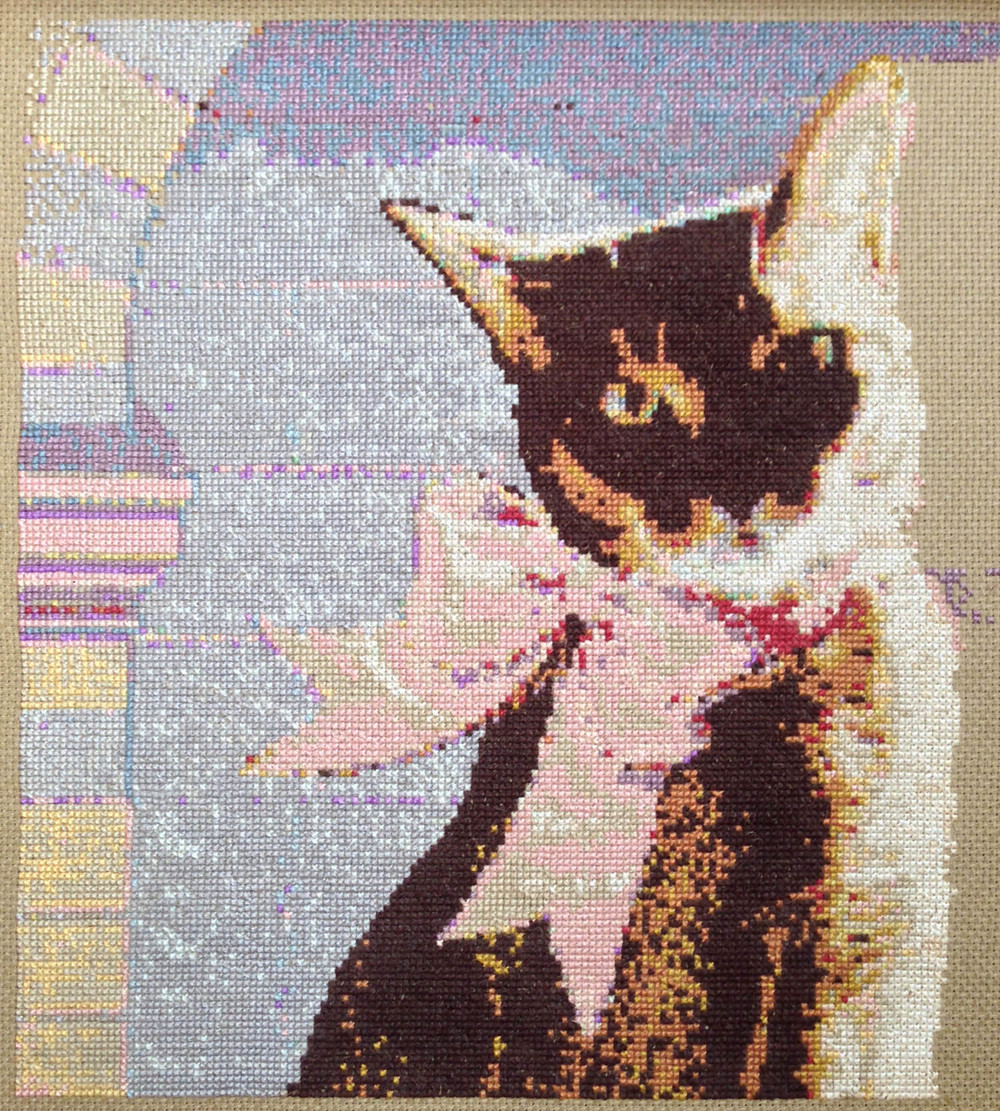 Stitchery from Photo Experiment (Cinnamon, our Cat)