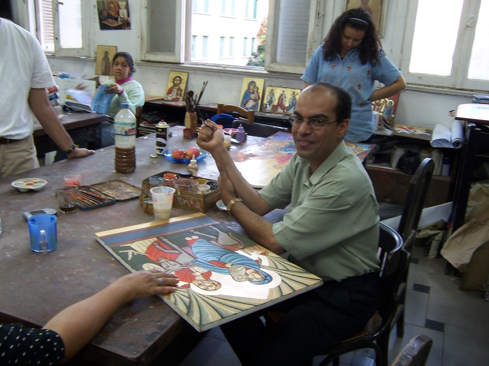 Ayman, an iconographer at the icon workshop at the Coptic Cathedral in Cairo, Egypt