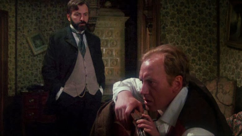 Alan Arkin (love him but his accent is Vienna by way of Brooklyn) and  Nicol Williamson as Sherlock Holmes in the film version of the Seven Percent Solution.