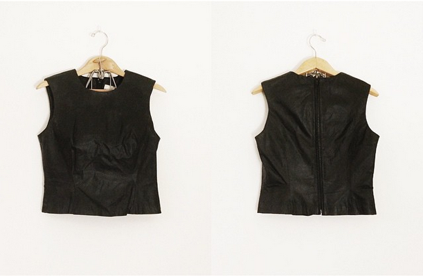 Vintage Leather Crop Top from Whiskey + Honey