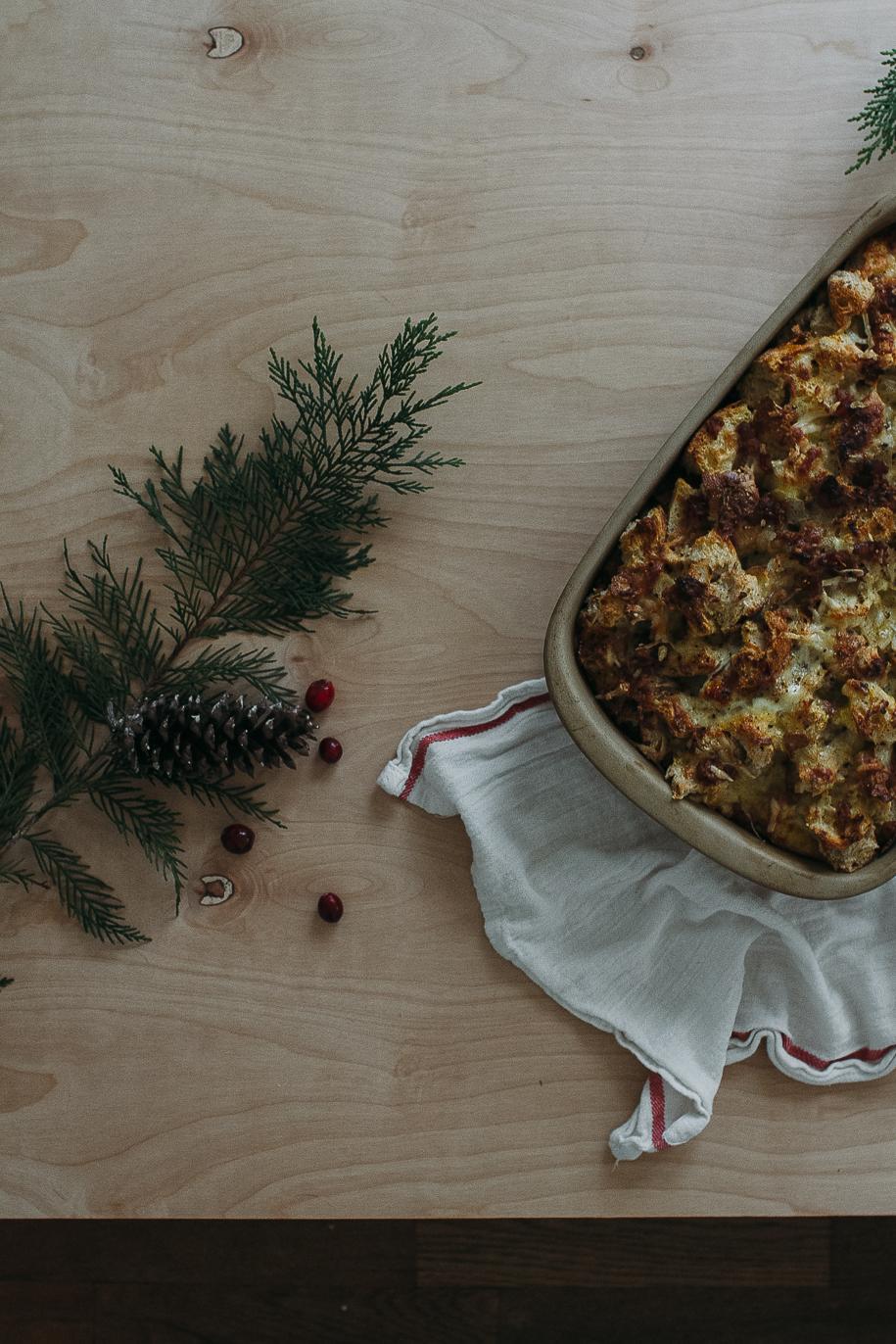 Savory Pancetta, Onion, & Gruyere Strata: A Christmas Brunch