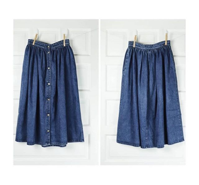 ➕$28➕ Vintage denim button down twirly A-line skirt. Two pockets. Perfect wear and fade. Calvin Klein brand.  High waisted. Size S.