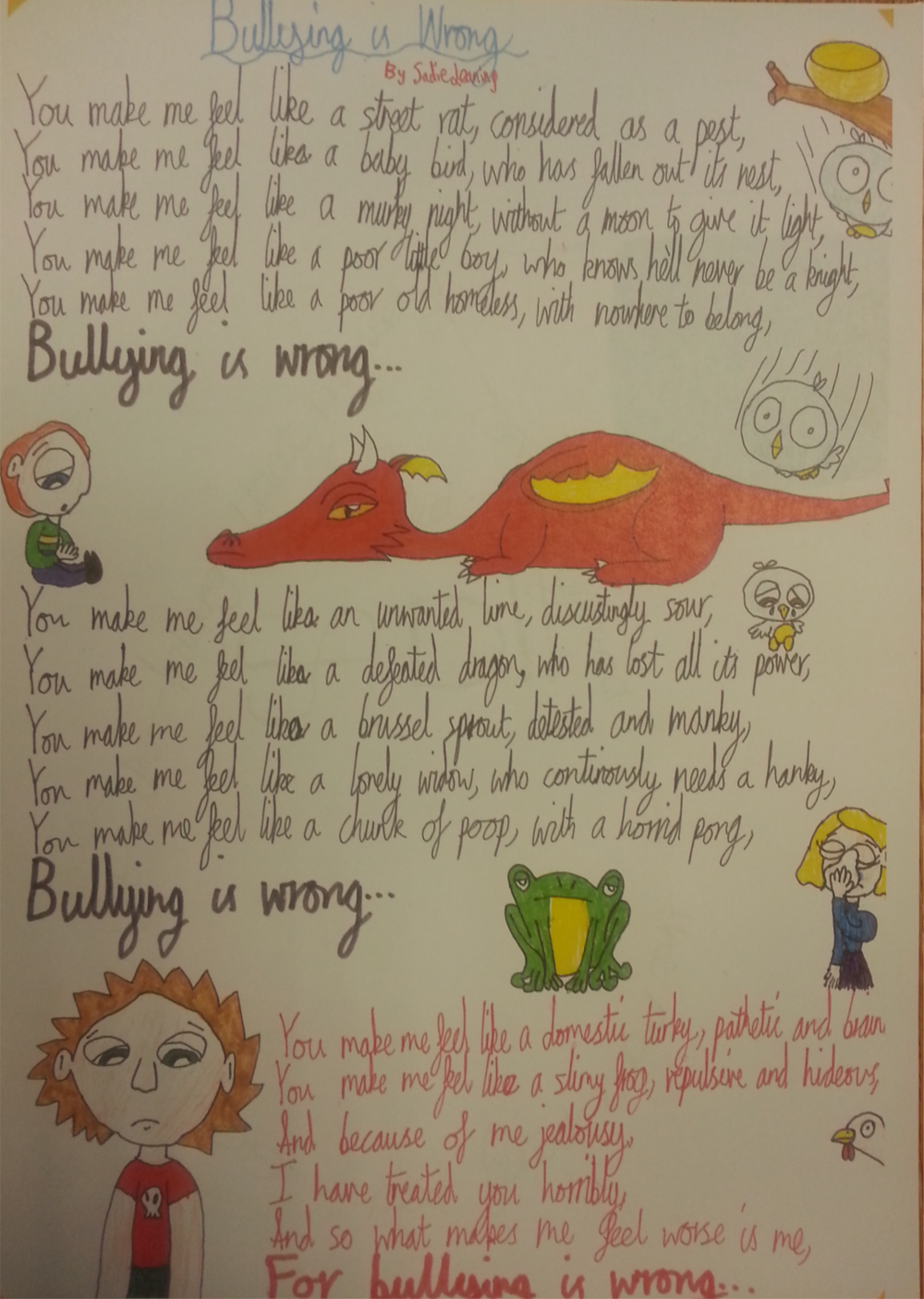 One entry for the school's Anti-Bullying poetry competition