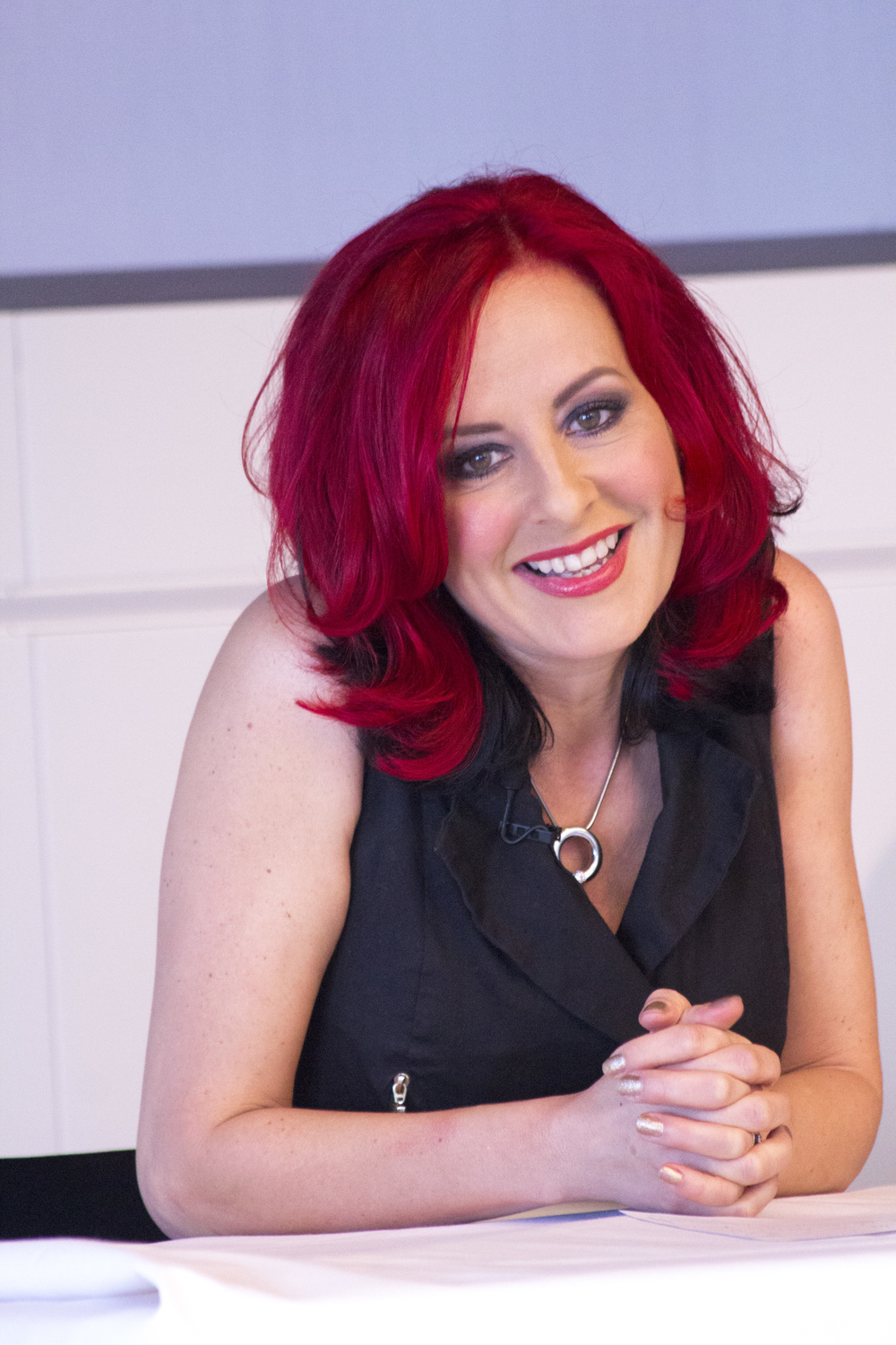 Carrie Grant, TV Presenter and Vocal Coach.  Carrie participated in the Question & Answer Panel debate.
