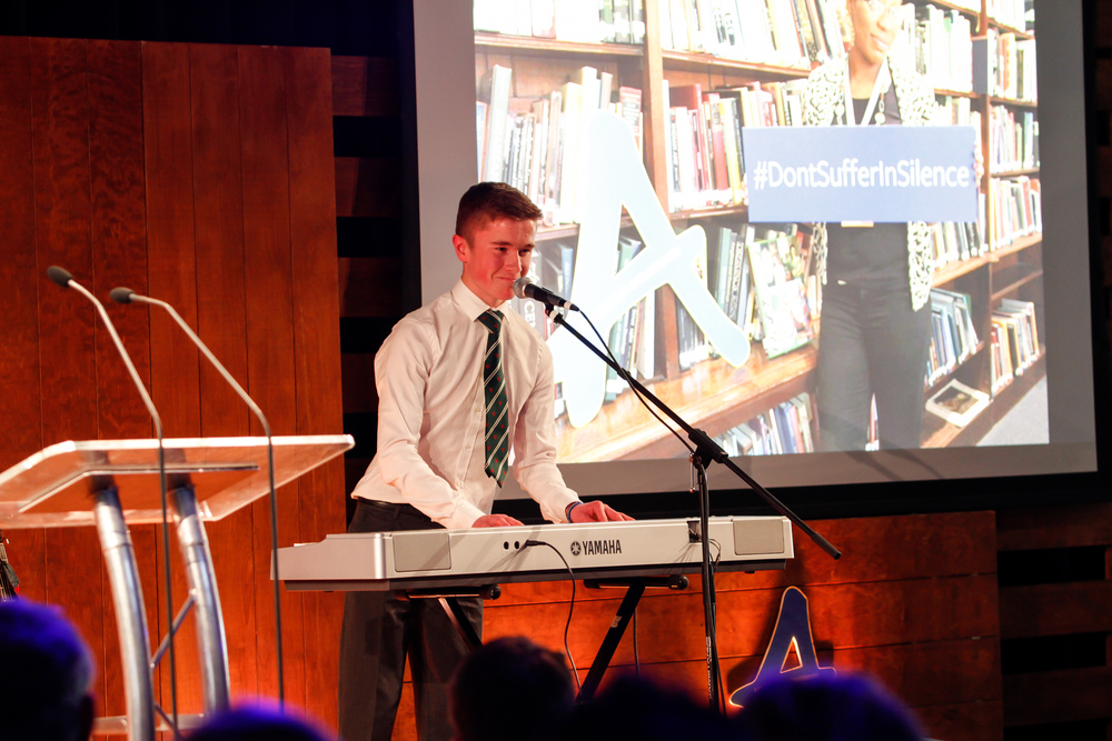 Elliot Davis- performing his own song! (Anti-Bullying Ambassador, Newbridge College, County Kildare)