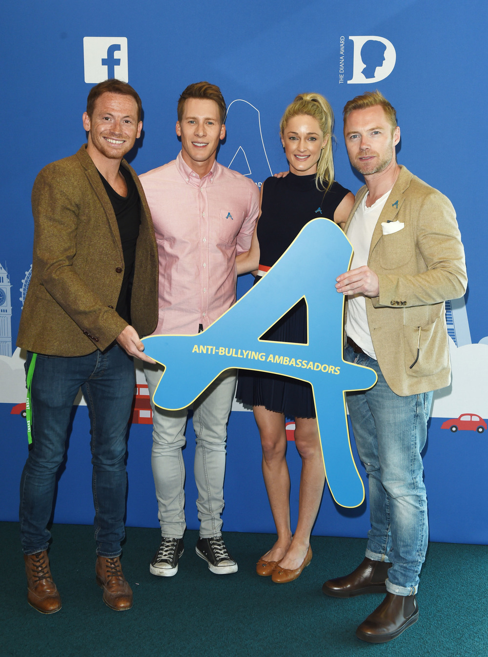 9th July 2015Celebrities and young people take a stand against bullying at star-studded Diana Award Anti-Bullying showcase held at Facebook, LondonHere: Dustin Lance Black_Storm Uechtritz_Ronan Keating_Joe SwashCredit: Justin Goff/Goffphotos.com