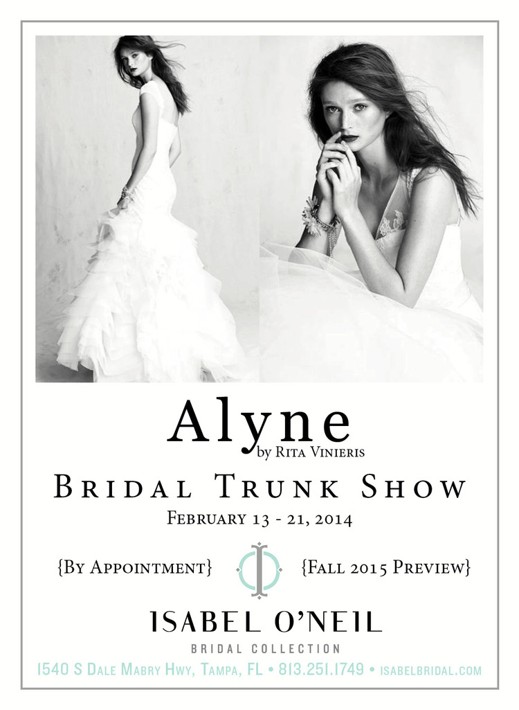 84774cf2d36 Alyne Bridal by Rita Vinieris Trunk Show - through February 21 ...