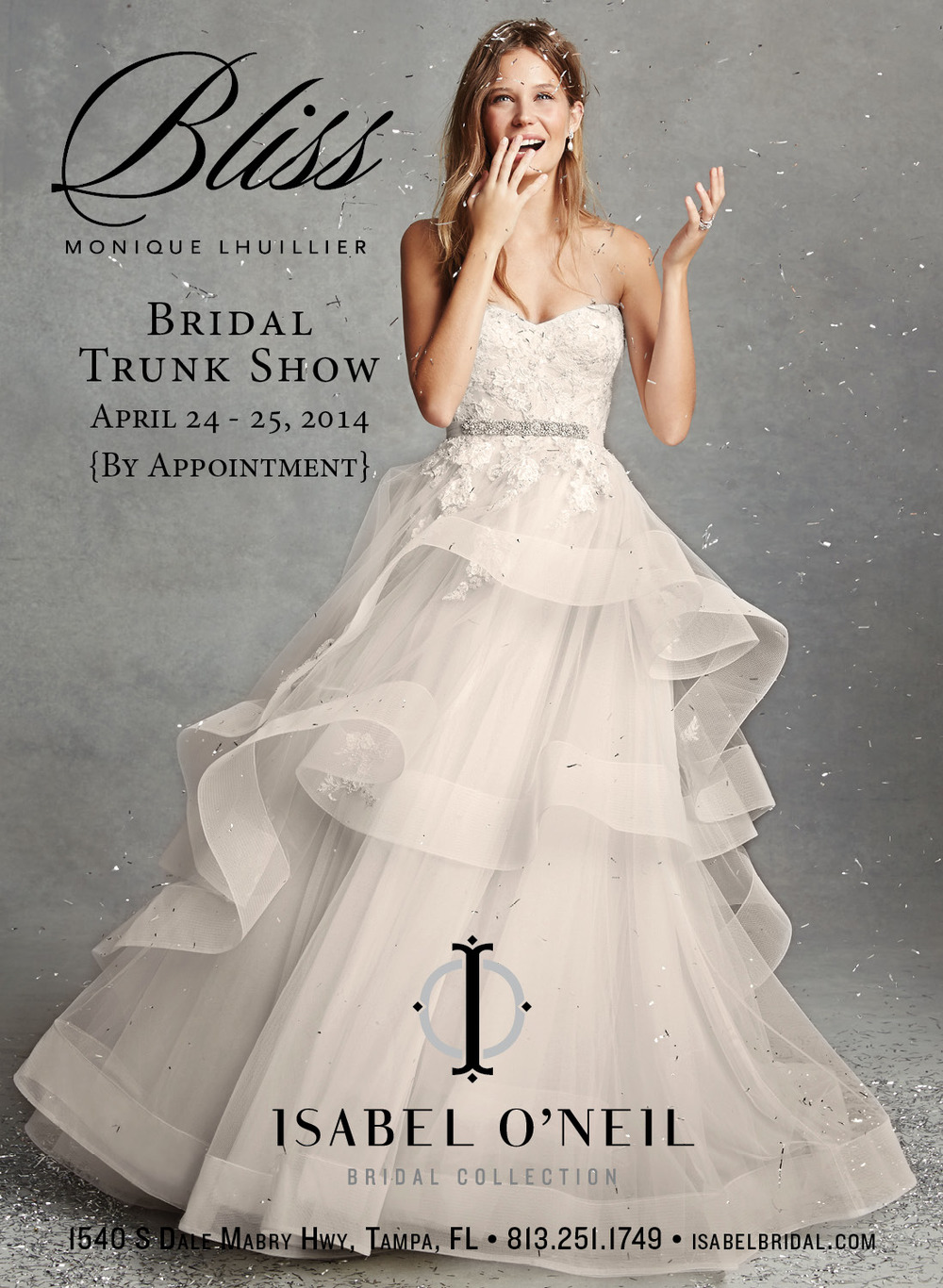 BLISS Monique Lhuillier Wedding Dress Ball Gown Hayley Paige Tampa Bridal Shop