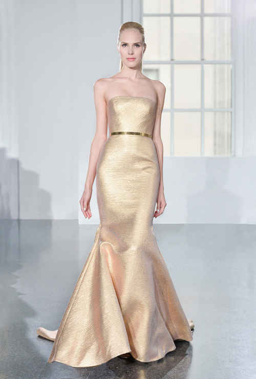 Roman Keveza Gold Evening Gown Tampa Bridal Shop Isabel O'Neil