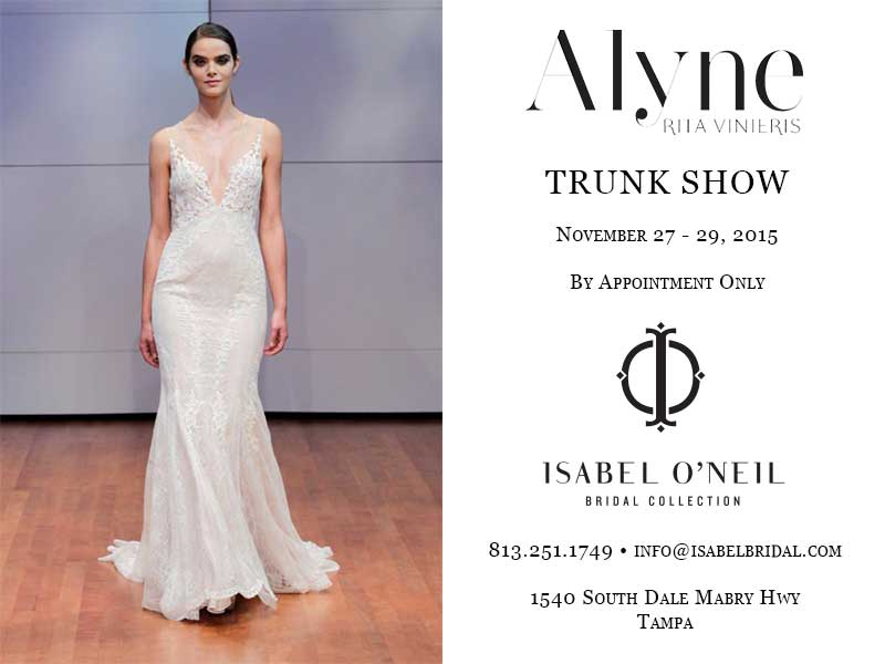 Alyne Bridal Low Back Plunging Neckline Lace Mermaid Sheath Wedding Dress Trunk Show Tampa Shop