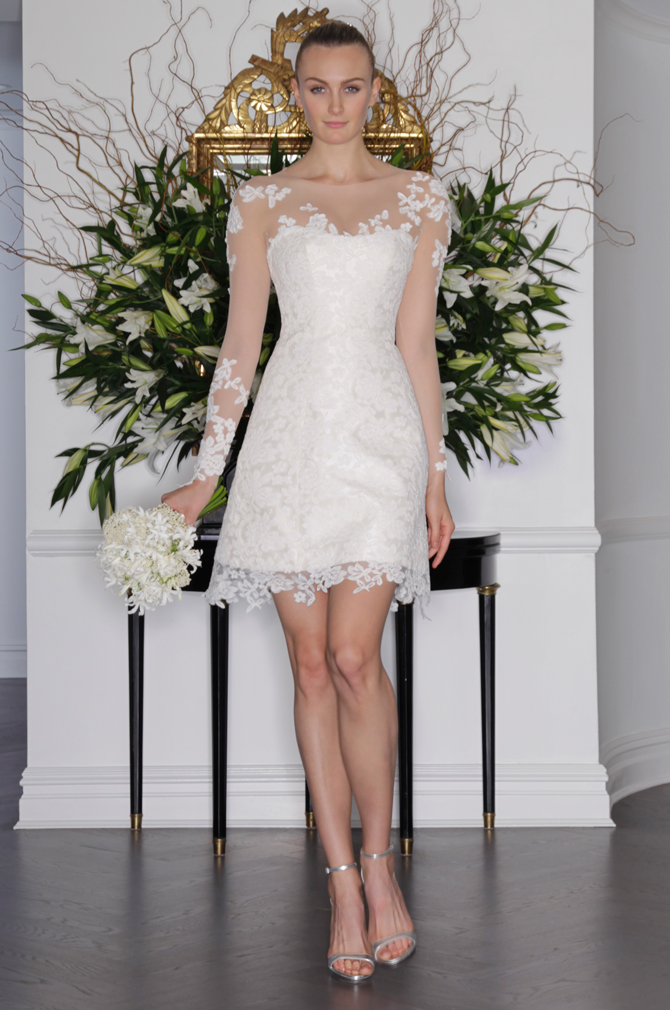 lace illusion long sleeve short wedding dress fit and flare a line reception dress