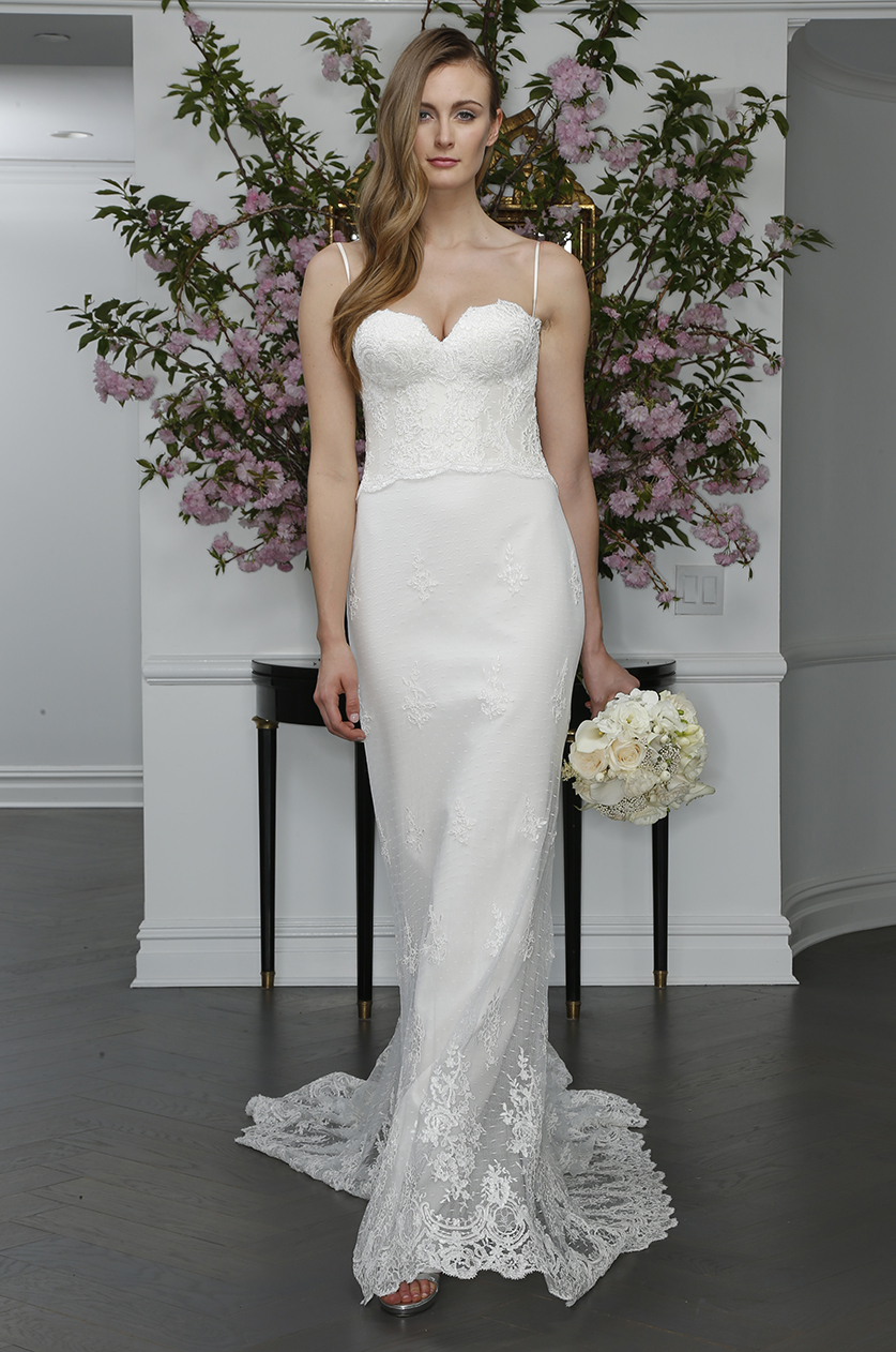 strapless sweetheart lace mermaid bridal gown dress