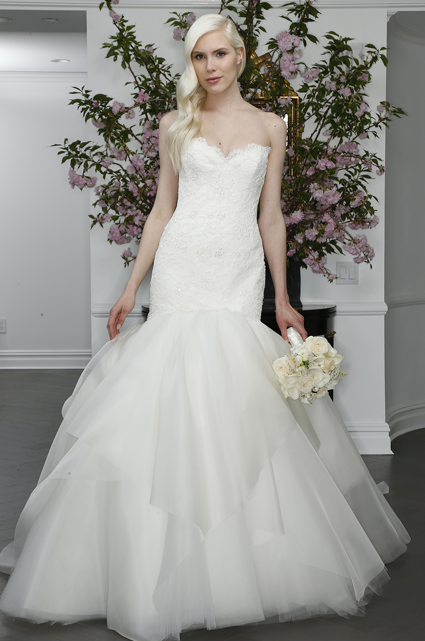 legends romona keveza mermaid trumpet tulle organza skirt strapless sweetheart beaded lace wedding dress