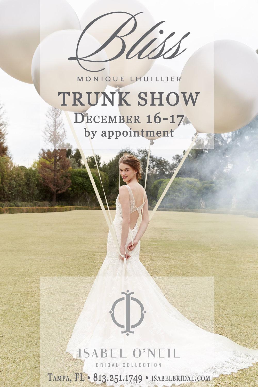 Bliss Monique Lhuillier Tampa Bridal Wedding Dress Shop Trunk Show Gowns