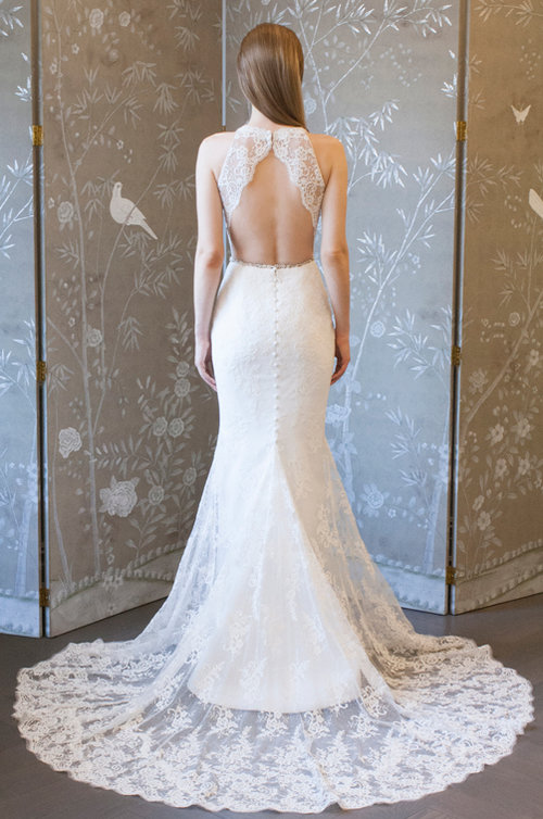 legends romona keveza sexy Lace halter neck keyhole open low back mermaid wedding dress