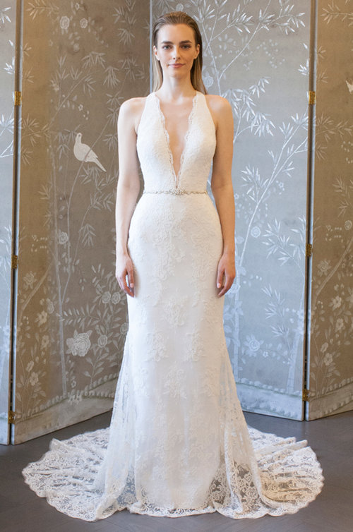 legends romona keveza Lace Halter Wedding Dress with deep plunge neckline
