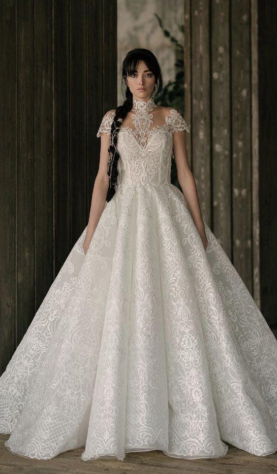 Lace High Neck Ball Gown Persian Wedding Dress Alyne Bridal Rivini Tampa Shop